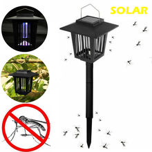 Solar Powered Uv Led-lampe 15w Moskito Mörder Lampe 2 In 1 Mückenfalle Mörder Garten Licht Fly bug Zapper Nacht Licht(China)