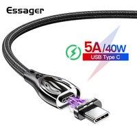Essager USB Magnetico di Tipo C Cavo 5A Veloce di Ricarica di Tipo-C Cavo di Magnete Caricatore Per Huawei P30 P20 Compagno 30 Xiao mi mi 10 USBC cavo
