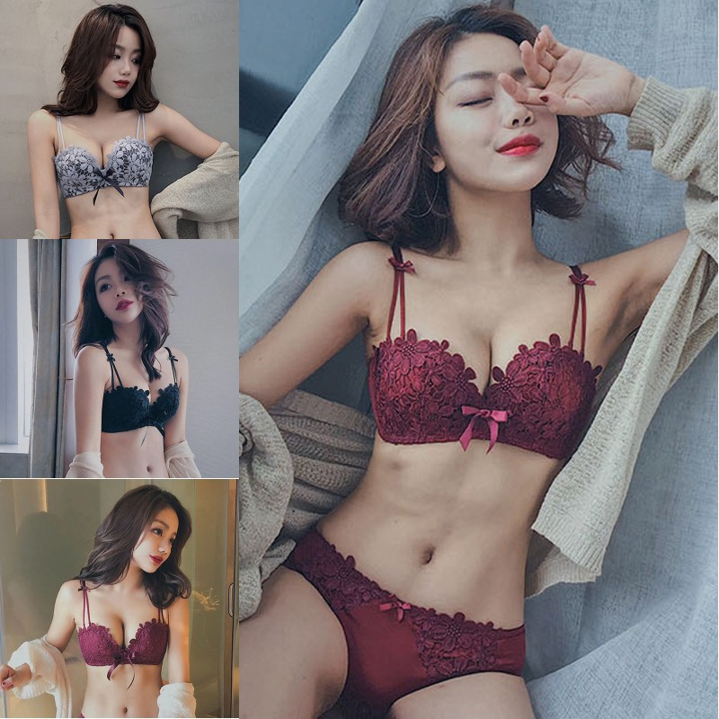 Fashion Sexy Ladies Lace Floral Bow Back Closure 3/4 Cup No Trace No Steel Ring Gathered Adjusted Straps Bra Underwear Set!