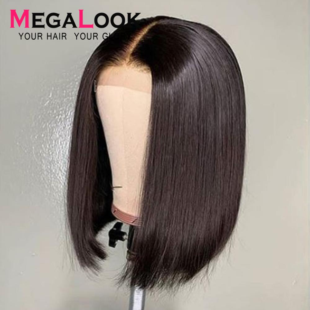 Megalook Kim K Wig Closure Wig Straight 2by6 Short Human Hair Wig Bob Lace Wigs Brazilian Hair Wigs Short Natural Color Remy
