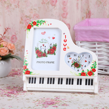 New Creative Classical Piano Alarm Clock With Photo Frame  Plastic Gift Picture Home Decoration