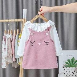 Primavera outono roupas da menina do bebê princesa conjunto de roupas meninas crianças manga longa camiseta topos dos desenhos animados macacão vestido 2 pçs vestido terno