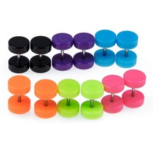 6 Pair Acrylic Fake Cheater Ear Stud Plug Earrings Piercing(China)
