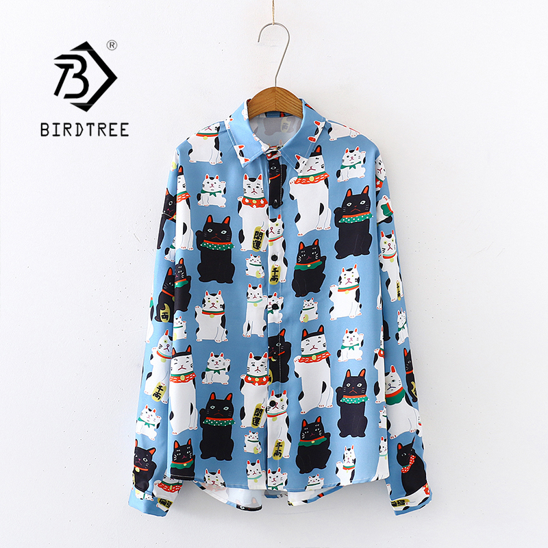 2020 Spring New Women Cartoon Lucky Cat Print Chiffon Blouse Autumn Long Sleeve Shirt Vintage Loose Tops Feminina Blusa T9D742T