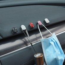 2 pçs de cristal strass ganchos carro bling mini assento volta ganchos para chaves sacos casa decorações parede ganchos