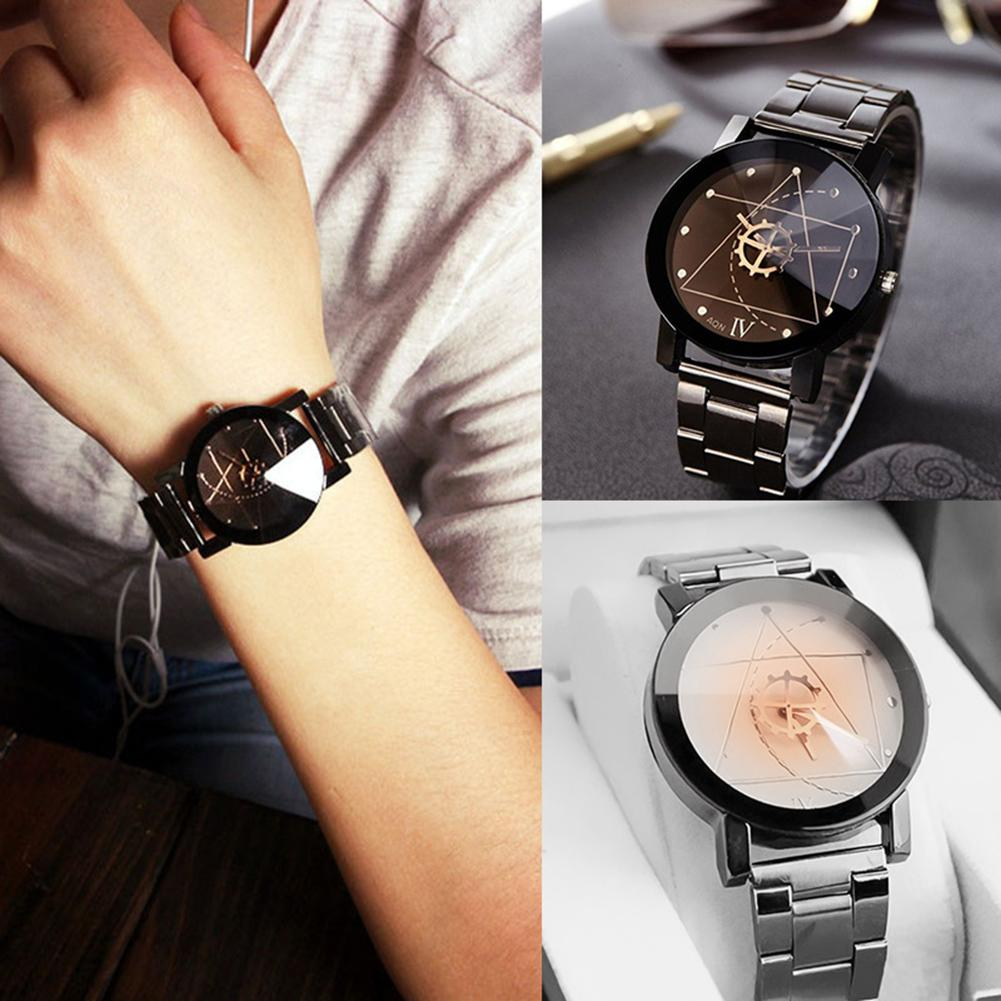 Men Women Lovers Wristwatch Stainless Steel Band Watch Gear Pointer Quartz Clock Relogio Zegarek Damski 2019 New Hot