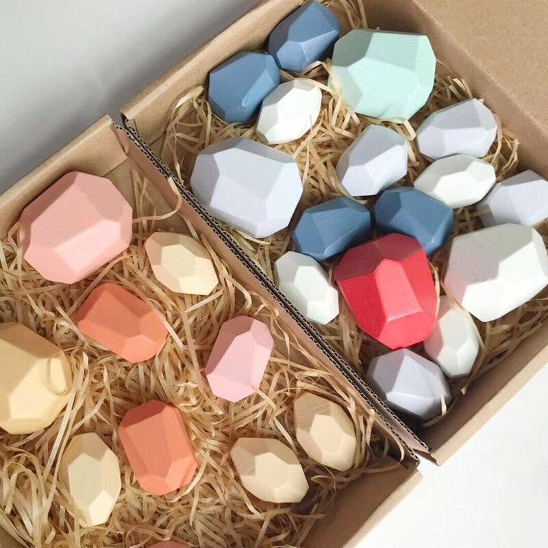 Обучающие деревянные цветные камни Монтессори, строительные блоки, игрушка в скандинавском стиле, игра для укладки, радужная деревянная иг...