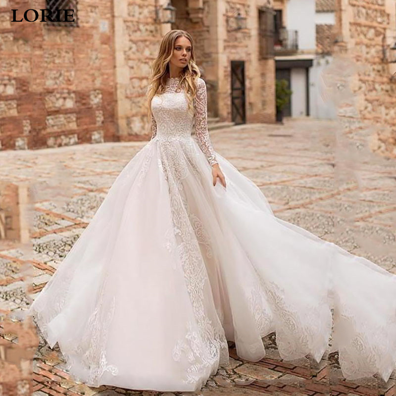 LORIE Princess Wedding Dress A Line Long Sleeve Lace Bridal Dresses Vestidos De Novia Boho Wedding Gown With Romantic Buttons