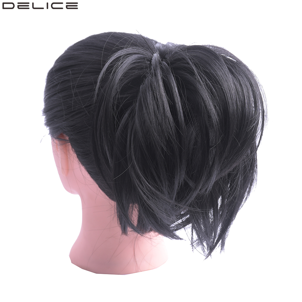 DELICE Girls Elastic Rubber Band Donut Chignon Natural Black Synthetic Straight Hair Scrunchie Wrap On Hair Rings