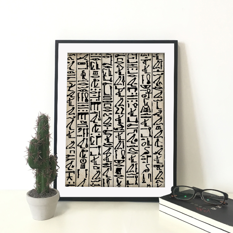 Print Wall Art Canvas Painting Abstract Poster Ancient Egyptian Hieroglyphics Writing Nordic Picture For Living Room Home Decor