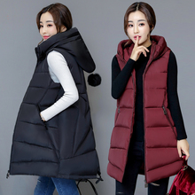 Winter vest women long Casual slim solid Big hood waistcoat Autumn sleeveless cotton padded parka coat for female