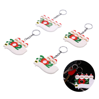 Santa Claus Keychain 2020 Quarantine Christmas Tree Decoration Keychains Hanging Ornament Toilet Paper Accessories Family Party image