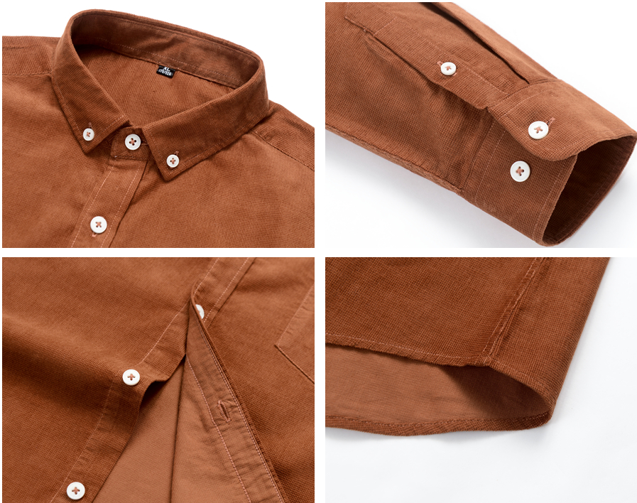 H58ea8fce3ae54fff89cc88a34c94e7c0V Casual Mens Corduroy Shirt Pure Cotton Long Sleeve Brown Thick Winter XXL Regular Fit New Model Male Button Down Shirts