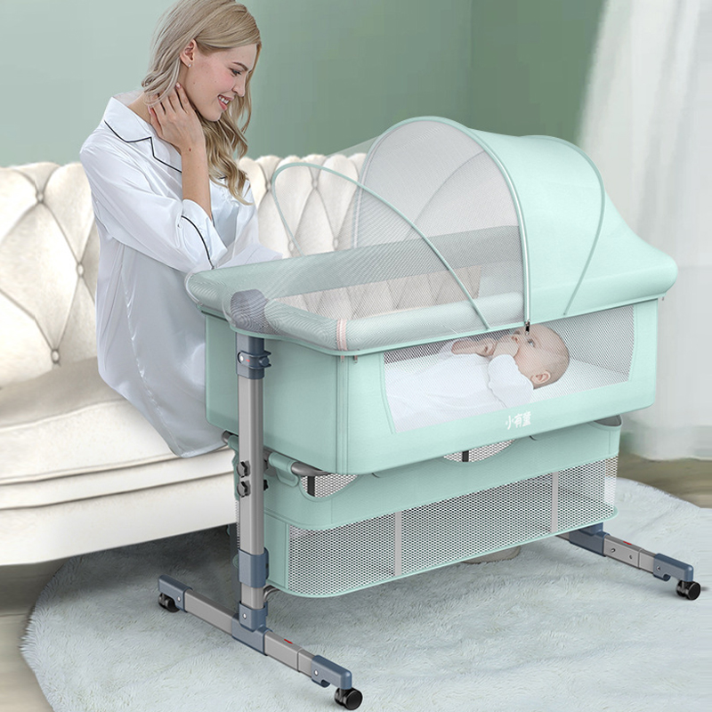 Newborn Portable  Baby Crib Cradle Travel Bed Game Bed with Mosquito Net  Aluminum Alloy Movable Baby Sleeping Basket 0-18month
