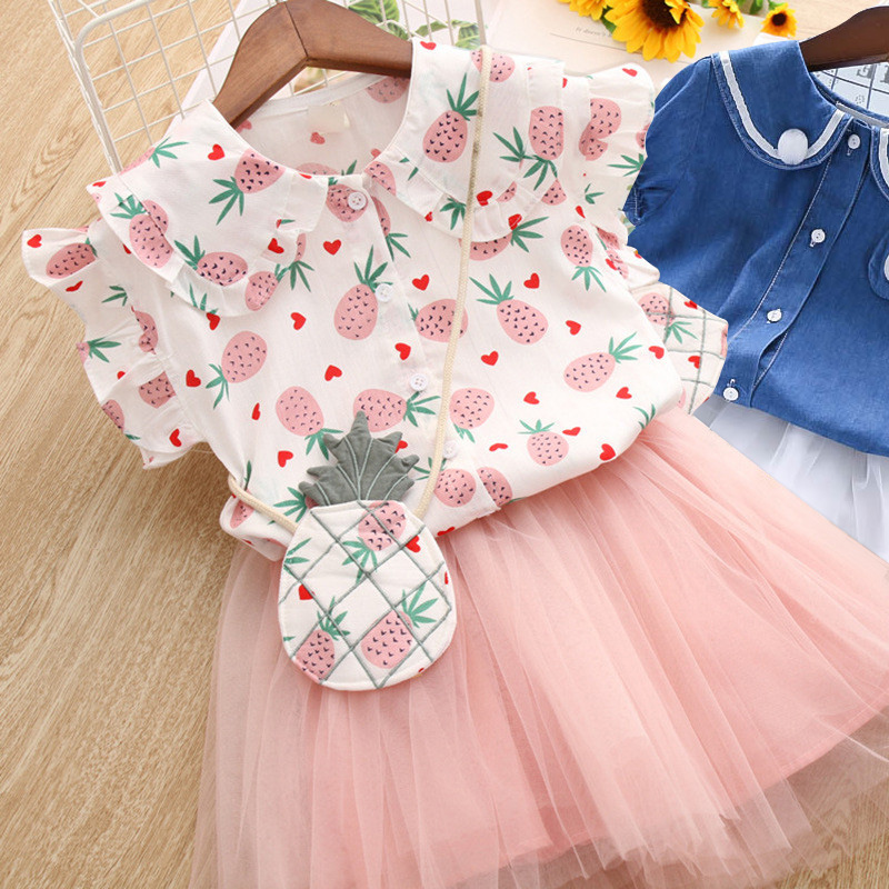 Summer Girls Clothing Sets Baby Kids Clothes Suit Children Lace Flower T-Shirt +Dress 2 Pcs/set Infantil Meninas