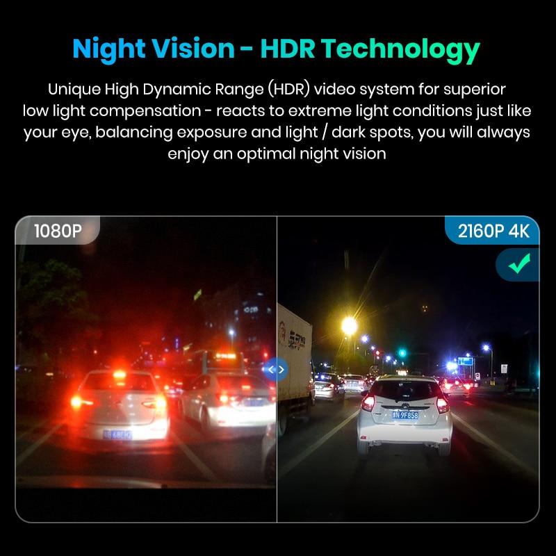 Image 2 - Junsun S590 WiFi 4K Car Dash Cam Ultra HD 2160P 60fps GPS ADAS DVR Camera Recorder Sony 323 Rear Camera 1080P Night Vision-in DVR/Dash Camera from Automobiles & Motorcycles
