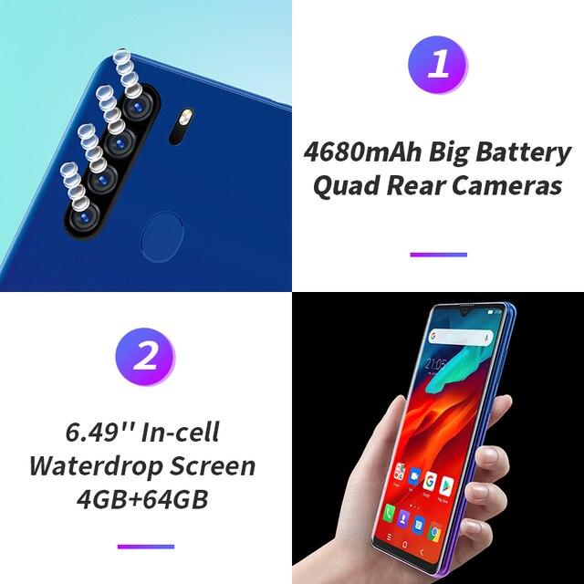 Blackview A80 Plus 6.49'' 4GB+64GB MT6762D Octa Core Android 10.0 Smartphone 13MP Quad Camera 4680mAh 4G NFC Mobile Phone 3