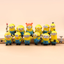 12pcs/lot 12 style for Minion Miniature Figurines Toys Cute Lovely Model Kids Toys 3cm PVC Anime Children Figure