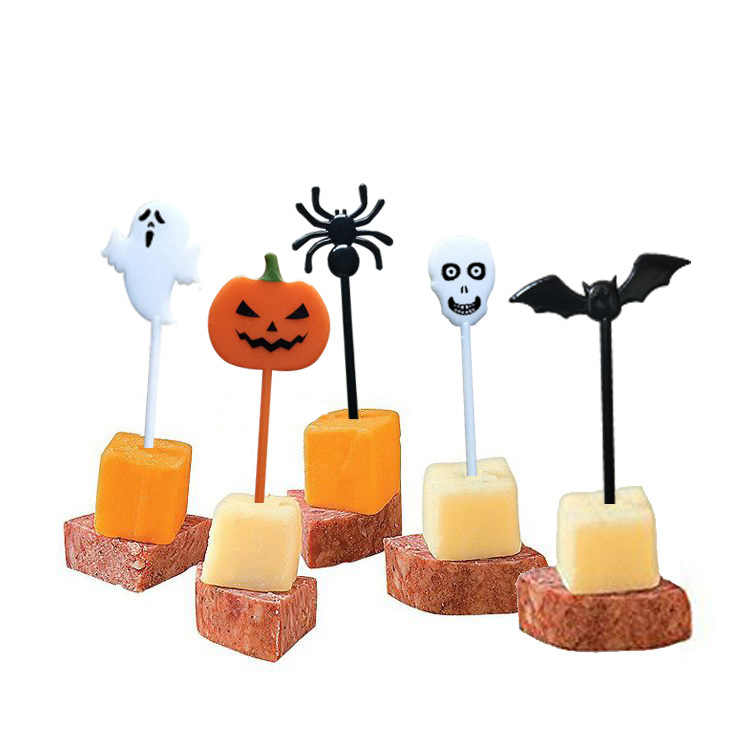 10pcs Halloween Fruit Fork Halloween  Party Cupcake Toppers Kids Birthday Decoration Children Cake Topper Toothpick