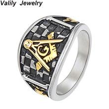 Valily Mens Freemason Ring Masonic Symbol Mason for Man Women Stainless Steel Two Tone  Biker Rings Jewelry wholesale
