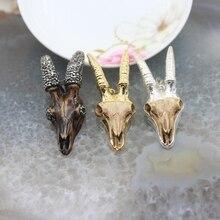 5 pièces/lot, pendentif tête de corne en résine de chèvre sculpté, bords plaqués or et argent