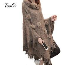 Женские пончо и накидки с рукавами «летучая мышь» из искусственного меха, с круглым вырезом, с кисточками, цвета хаки, женские свитера и пуловеры, пальто из искусственного меха
