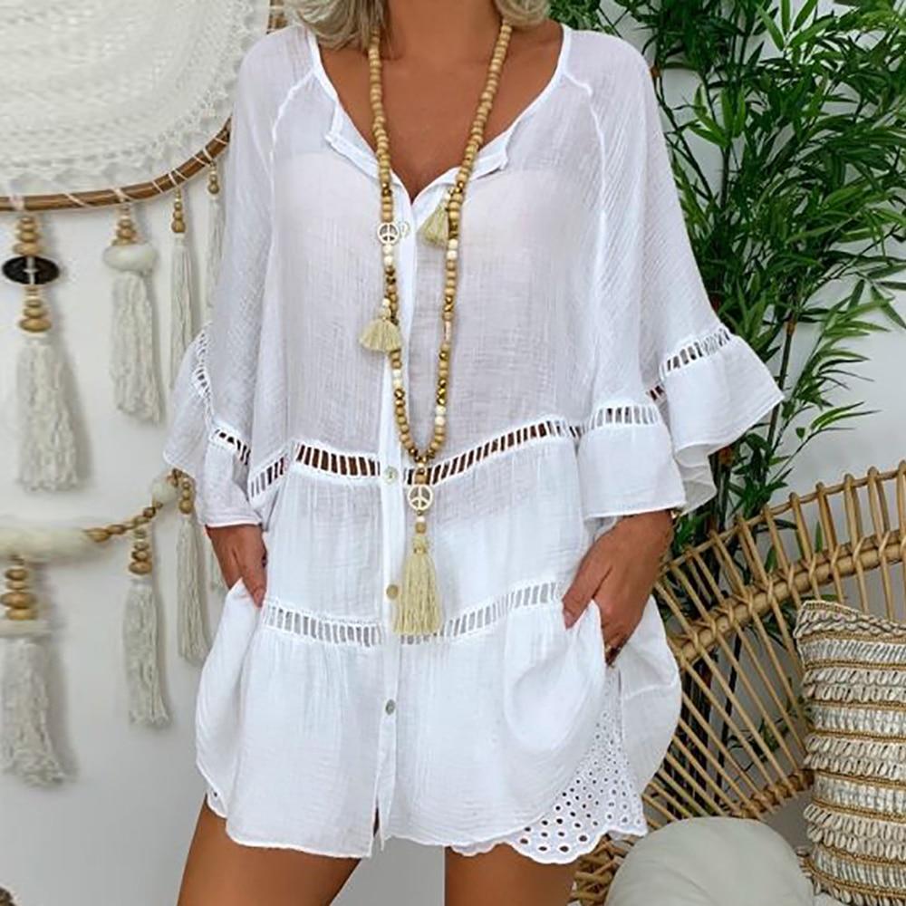 2020 Summer Blouses Large Size Loose Women Blouse Dress Cotton And Linen V-neck Button Cutout Shirt Hollow Bohemia Blusas