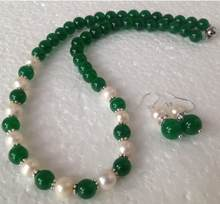 Free Shipping 7-8mm white Akoya Pearl/Green jade Fashion Necklace Earrings set(China)