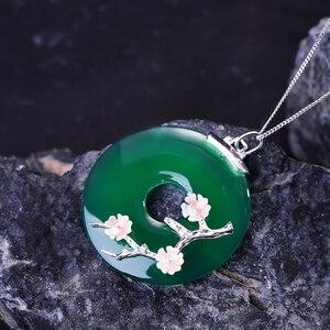 Image 3 - לוטוס כיף אמיתי 925 כסף סטרלינג בעבודת יד תכשיטים פגז שזיף פרח טבעי אבני חן תליון ללא שרשרת לנשים