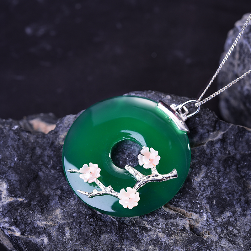 Image 3 - Lotus Fun Real 925 Sterling Silver Handmade Fine Jewelry Shell  Plum Flower Natural Gemstones Pendant without Necklace for Womenfine  jewelrypendant handmadependant 925