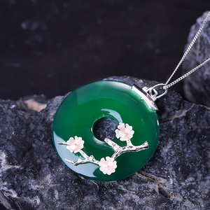 Image 3 - Lotus Fun Real 925 Sterling Silver Handmade Fine Jewelry Shell Plum Flower Natural Gemstones Pendant without Necklace for Women