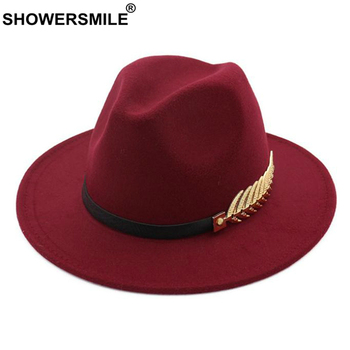 SHOWERSMILE Burgundy Women Fedora Hat Winter Female Wool Felt Hat Leaf Large Brim British Style Retro Jazz Cap Accessories