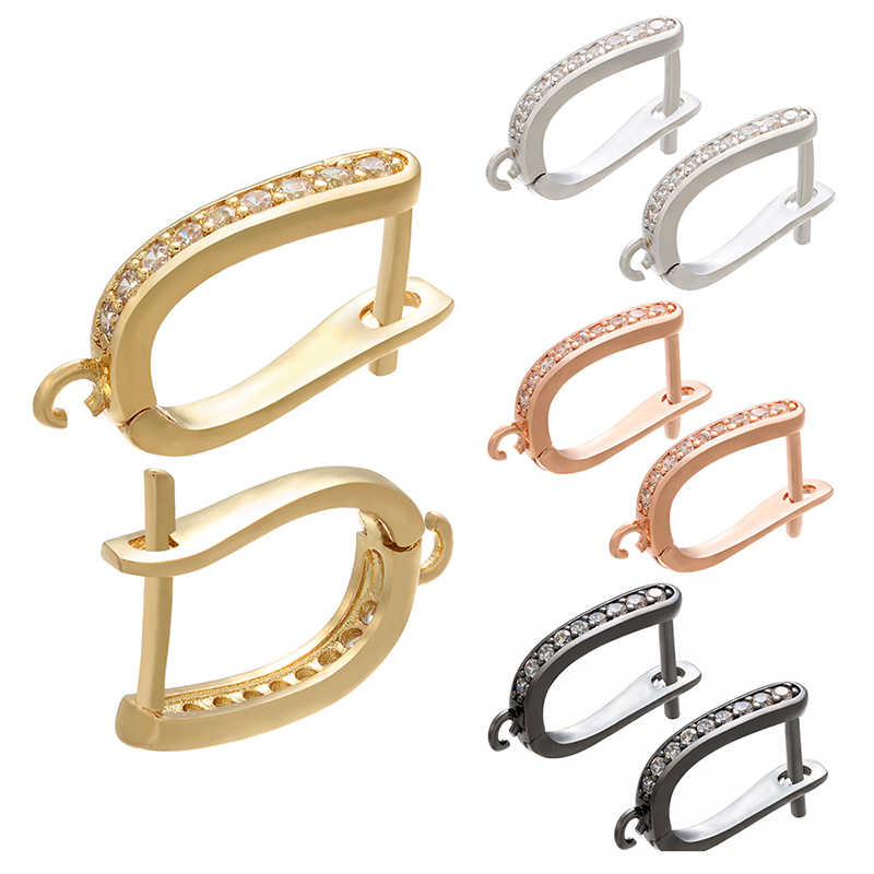 Zhukou Kuningan Emas/Perak Warna Anting-Anting Kait Aksesoris Crystal Anting-Anting Anting-Anting Hook untuk Buatan Tangan Anting-Anting Perhiasan Membuat VE94