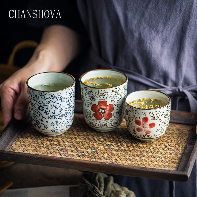 CHANSHOVA 120/200ml Traditional Chinese Style Handpainted Ceramic Teacup China Porcelain Small And Large Coffee Tea Cups H315