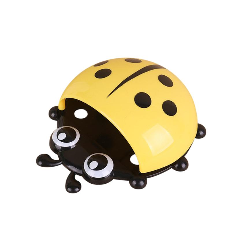 Cute Cartoon Ladybug Kids Toothbrush Toothpaste Holder Wall Mounted Suction Cup Bathroom Decor Yellow Green Blue Red image