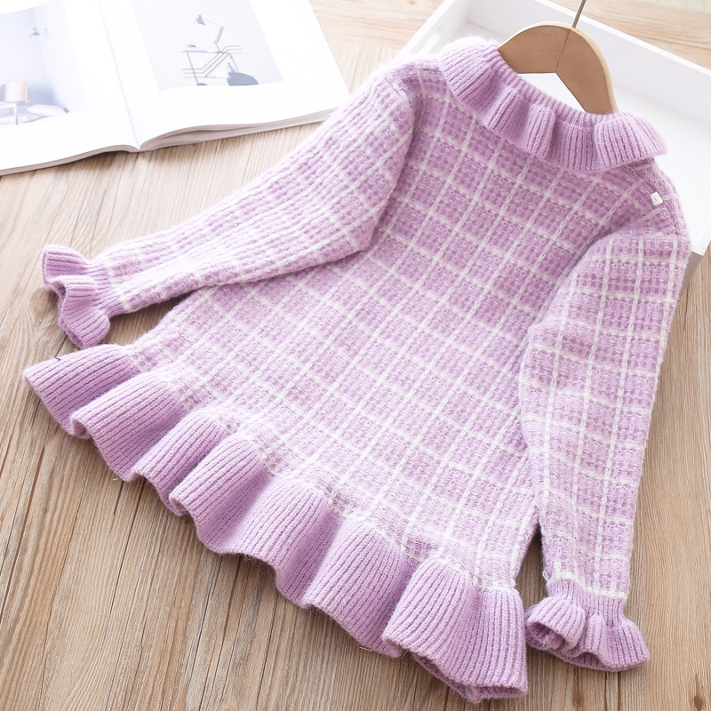 Baby Girls Knitted Dress Sweater shirt Infant Toddler Girl Pullover Child Warm Clothes Undershirts For Winter Autumn Dresses 4