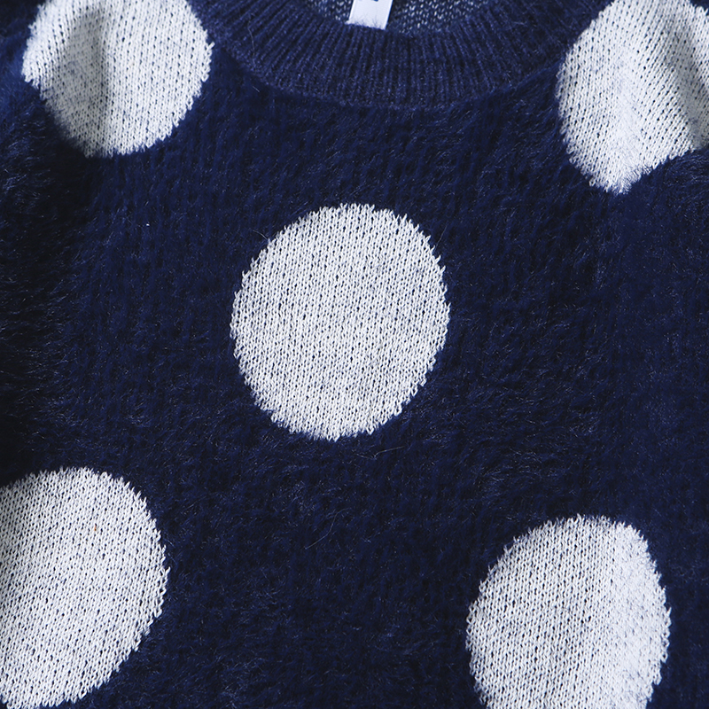 Mirecoo Big Dots Sweater Pullover Hip Hop Streetwear Retro O-Neck Sweater Harajuku Knitted Sweaters Apricot Blue Autumn Winter