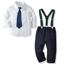 Boy Gentleman Suits Baby Boys Wedding Formal Kids Gentleman Tie Shirt Pants 3Pcs Sets Boy Clothes Cotton Children Student Dress