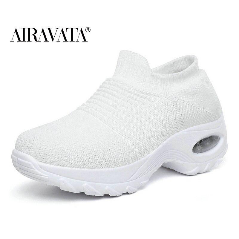 White-Women's walking shoes Fashion Casual Sport Shoes Platform Sneakers