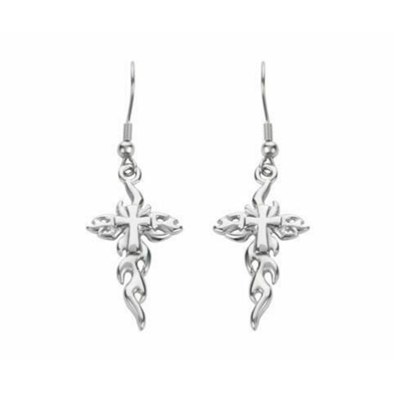 Fashion Gothic Flame Cross Skull Earrings Jewelry Punk Christ Faith Ankh Crucifix Drop Jesus Dangle Earrings For Women Gift
