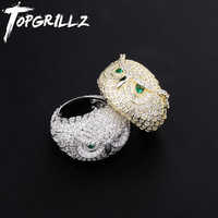 TOPGRILLZ Owl Animal Ring Iced Out Cubic Zircon Gold Silver Color Personality Hip Hop Jewelry For Men Women