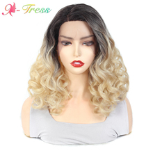 Deep Wave Lace Front Ombre Wigs Light Brown/ Blonde Synthetic Short Hair 14inch Wig X-TRESS