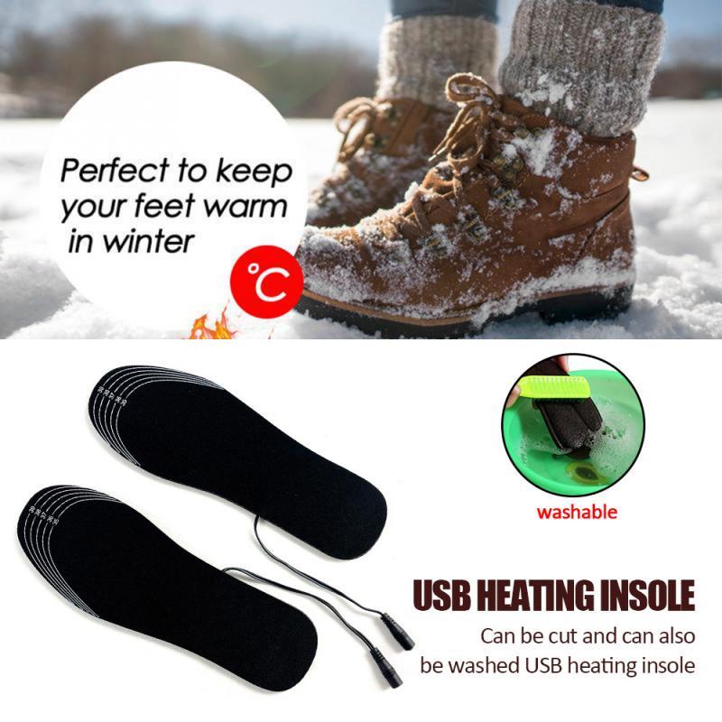 Electric Heated Shoe Insoles Warm Socks Feet Heater USB Foot Winter Warmer Pads