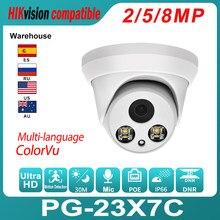 Hikvision compatível ip dome câmera colorvu 8mp poe embutido mic h.265 onvif ir distância 30m detecção de movimento ip66 à prova dwaterproof água