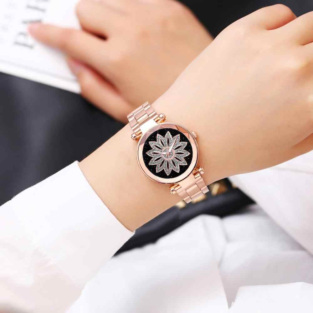 Moda Bayanlar Yıldızlı Gökyüzü quartz saat Mandala Çiçekler Dial Casual kadın Izle Paslanmaz çelik kemer Kadın Saat Hediye A30