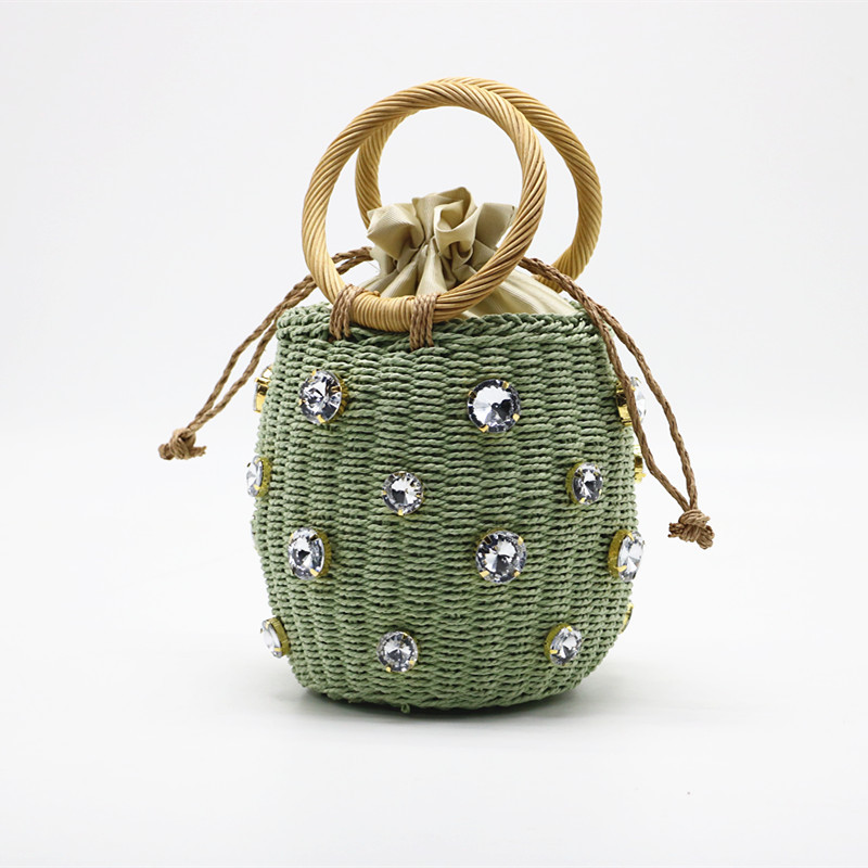 Summer Round Rattan Handmade Diamond Pearl Bag Bohemian Leisure Straw Bag Bucket Knitting Shoulder Crossbody Beads Beach Bag