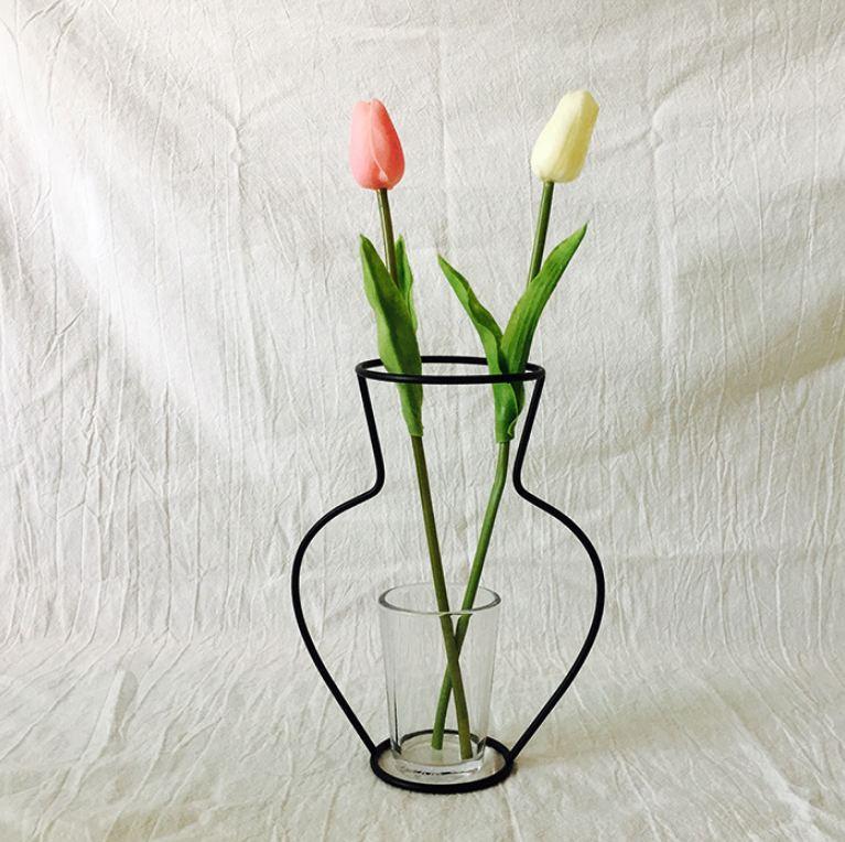 Новая креативная ваза DIY вечерние ваза черный держатель для растений подставка держатель железный провод цветок вазы орнамент жизнь - Цвет: E