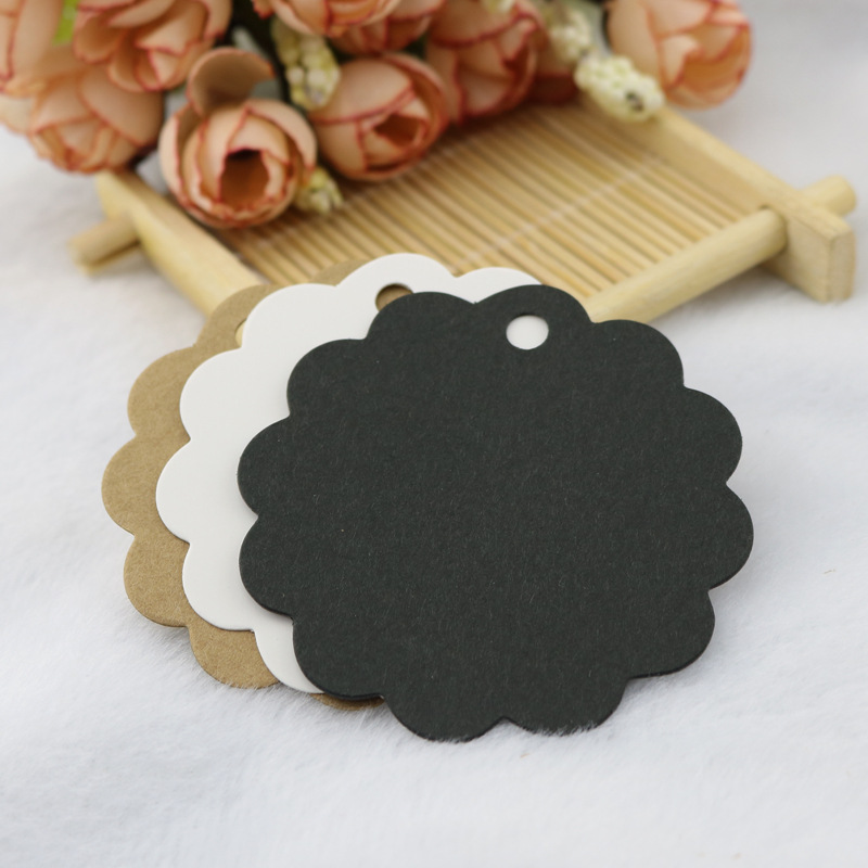 Kraftpaper Lace-up Round Small Label Blank Paper Card Word Mood Card Handmade Soap Tag
