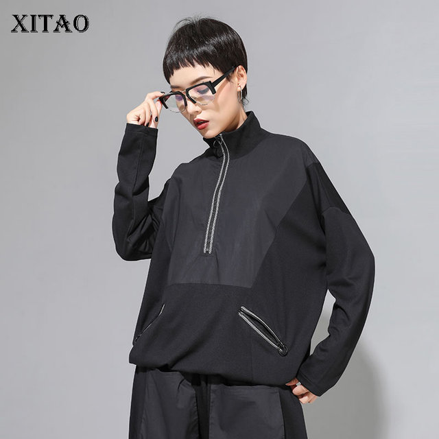 XITAO Patchwork Hit Color negro camiseta mujer moda ropa 2019 soporte cuello manga completa camiseta bolsillo superior otoño nuevo GCC1431