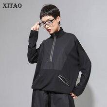 XITAO خليط ضرب اللون الأسود T قميص المرأة أزياء الملابس 2019 موقف طوق كامل كم المحملة أعلى جيب الخريف جديد GCC1431